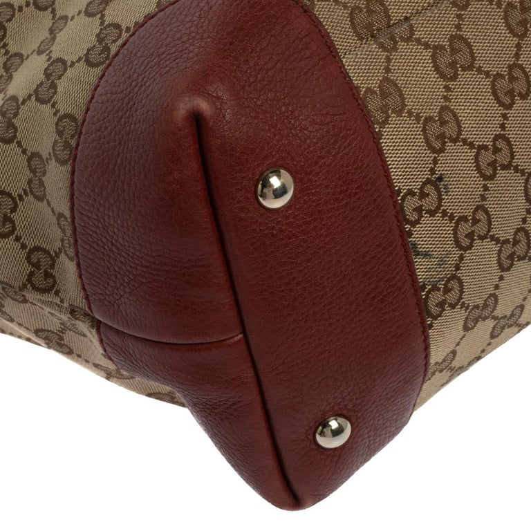 Gucci Beige/Red GG Canvas and Leather Medium Supreme Web Dressage Tote For Sale 6