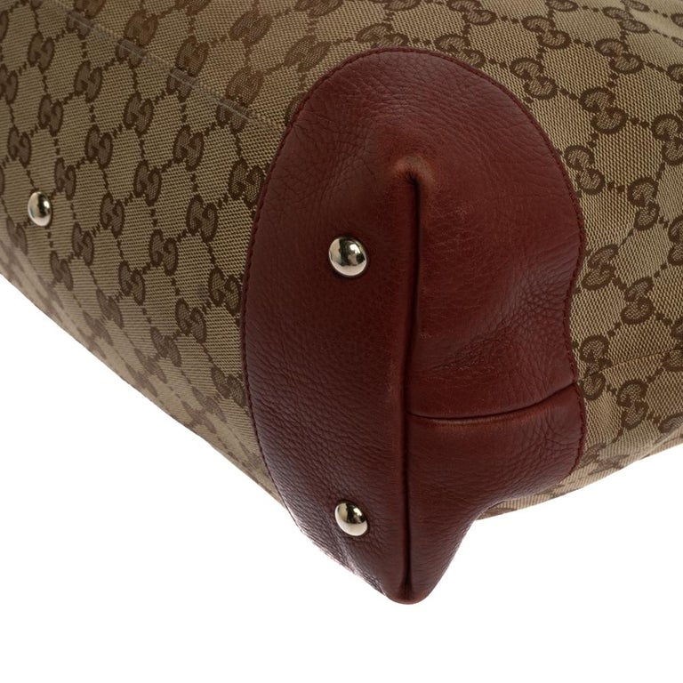 Gucci Beige/Red GG Canvas and Leather Medium Supreme Web Dressage Tote For Sale 7