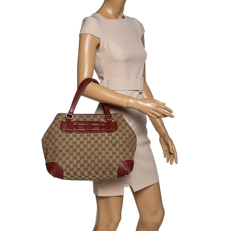 Brown Gucci Beige/Red GG Canvas and Leather Medium Supreme Web Dressage Tote For Sale