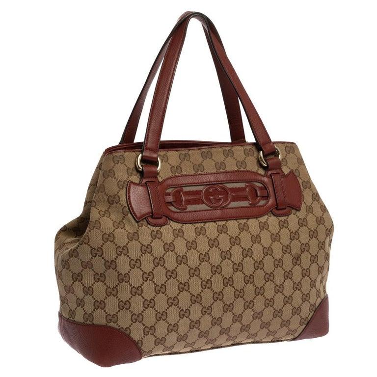 Gucci Beige/Red GG Canvas and Leather Medium Supreme Web Dressage Tote In Good Condition For Sale In Dubai, Al Qouz 2