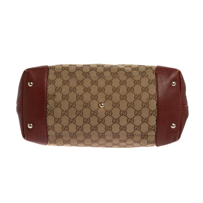 Women's Gucci Beige/Red GG Canvas and Leather Medium Supreme Web Dressage Tote For Sale
