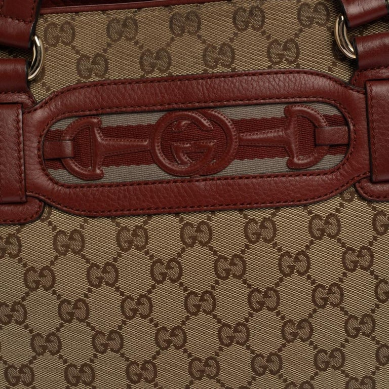 Gucci Beige/Red GG Canvas and Leather Medium Supreme Web Dressage Tote For Sale 1