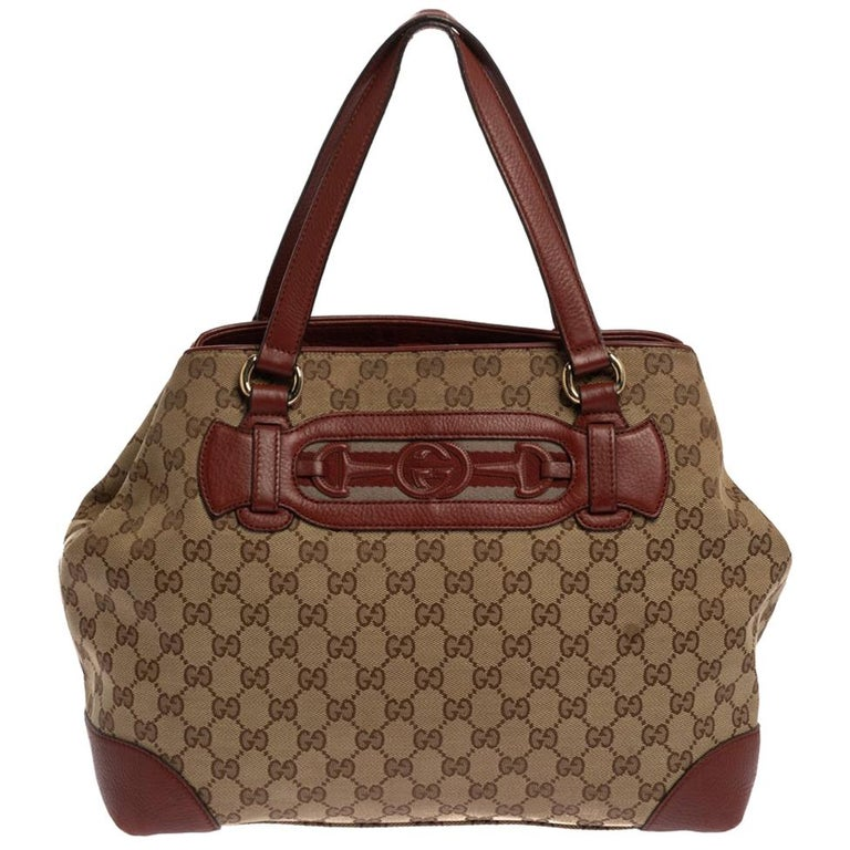 Gucci Beige/Red GG Canvas and Leather Medium Supreme Web Dressage Tote For Sale