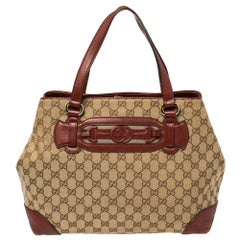 Gucci Beige/Red GG Canvas and Leather Medium Supreme Web Dressage Tote