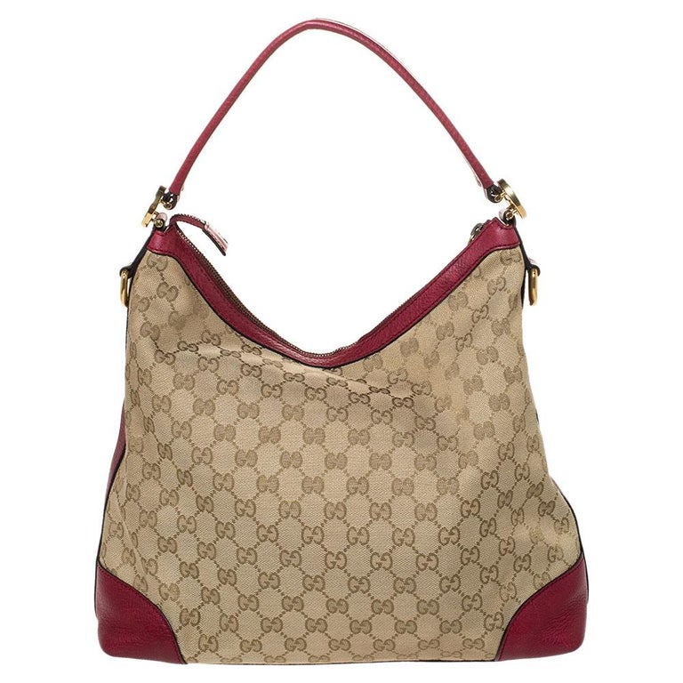 Gucci Beige/Red GG Canvas and Leather Miss GG Hobo 7