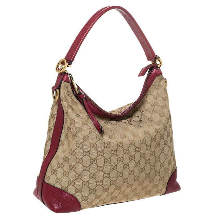 Brown Gucci Beige/Red GG Canvas and Leather Miss GG Hobo