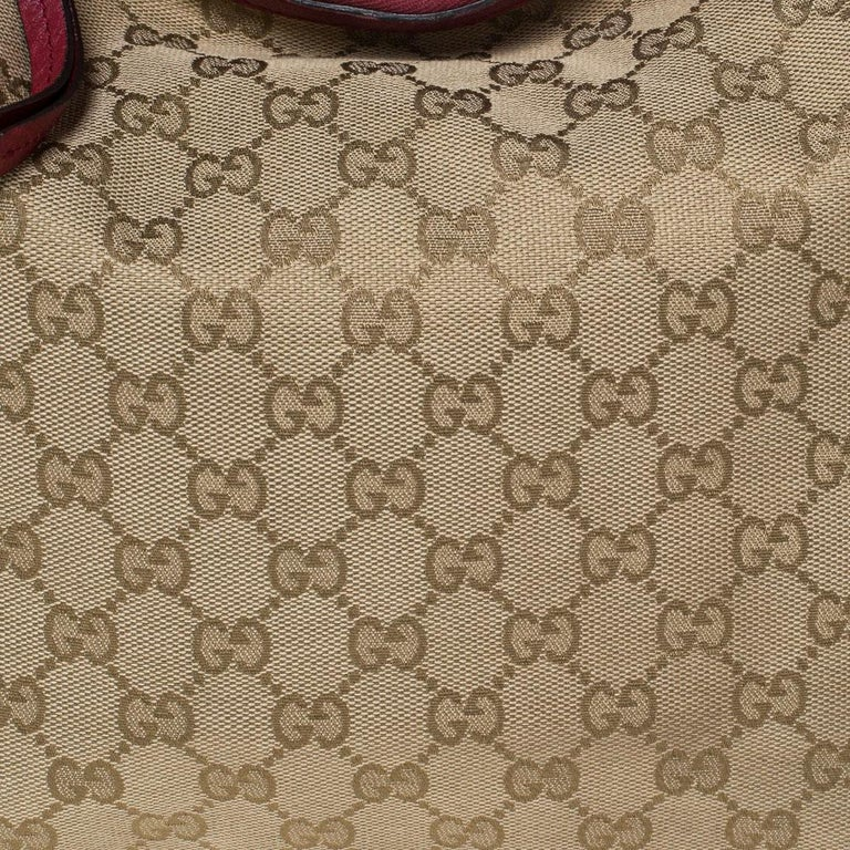 Gucci Beige/Red GG Canvas and Leather Miss GG Hobo In Good Condition In Dubai, Al Qouz 2