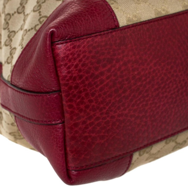 Gucci Beige/Red GG Canvas and Leather Miss GG Hobo 1