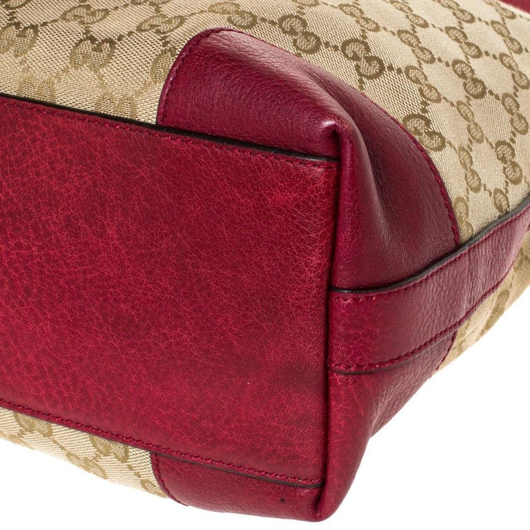 Gucci Beige/Red GG Canvas and Leather Miss GG Hobo 2