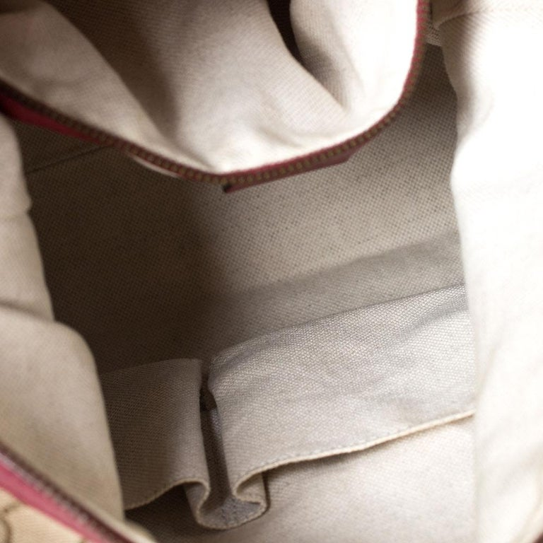 Gucci Beige/Red GG Canvas and Leather Miss GG Hobo 3