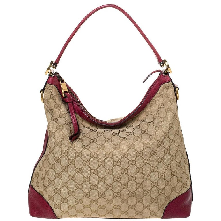 Gucci Beige/Red GG Canvas and Leather Miss GG Hobo