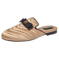 Gucci Beige Satin Embellished Flat Mules Size 37