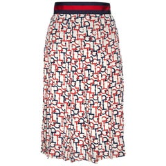 Gucci Beige Silk Handcuff Printed Pleated Midi Skirt S