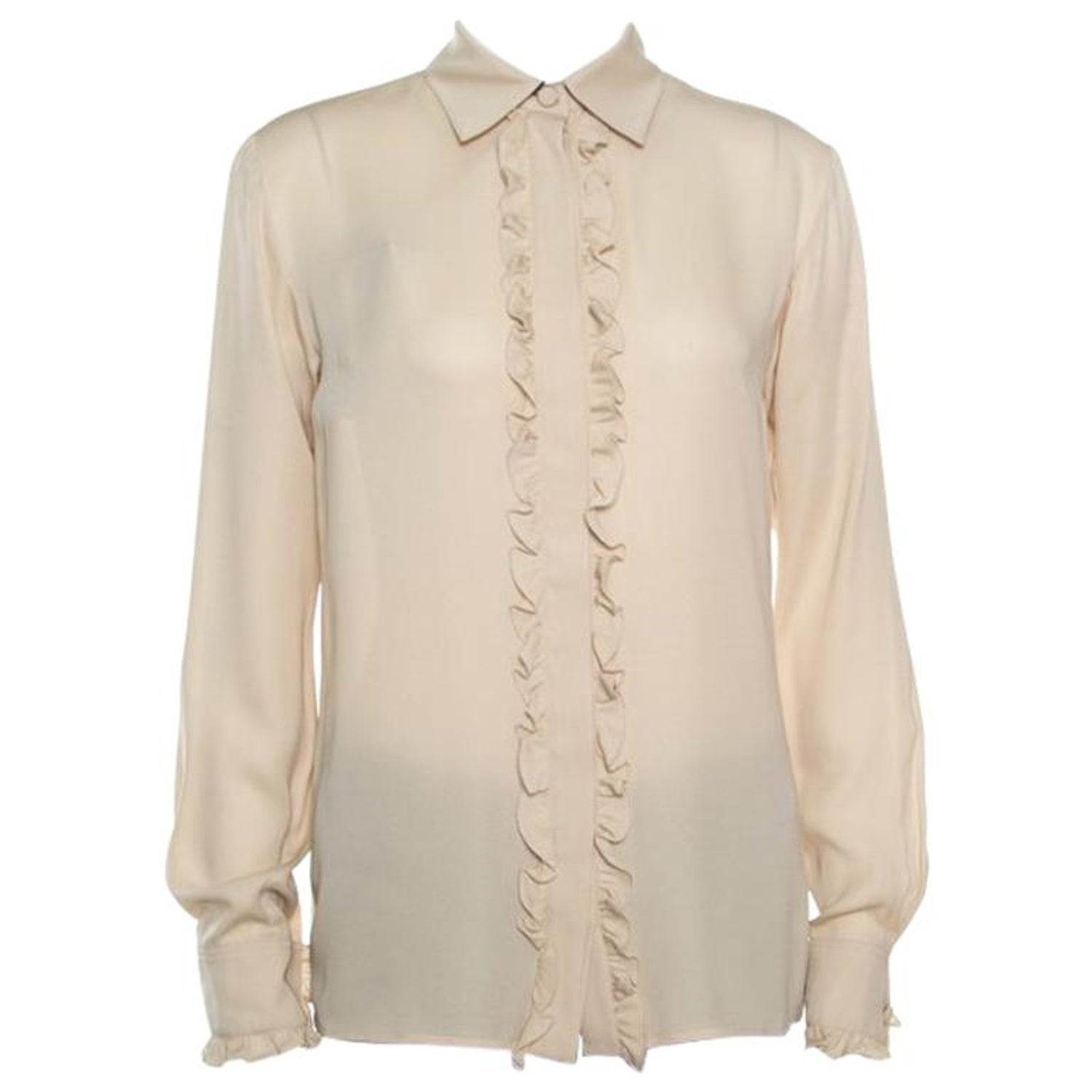 a80393505 Gucci Beige Silk Ruffle Placket and Cuff Detail Long Sleeve Blouse S For  Sale at 1stdibs