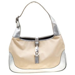 Gucci Beige/Silver Canvas And Leather Jackie Shoulder Bag