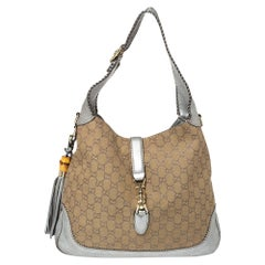Gucci Beige/Silver GG Canvas and Leather New Jackie Hobo