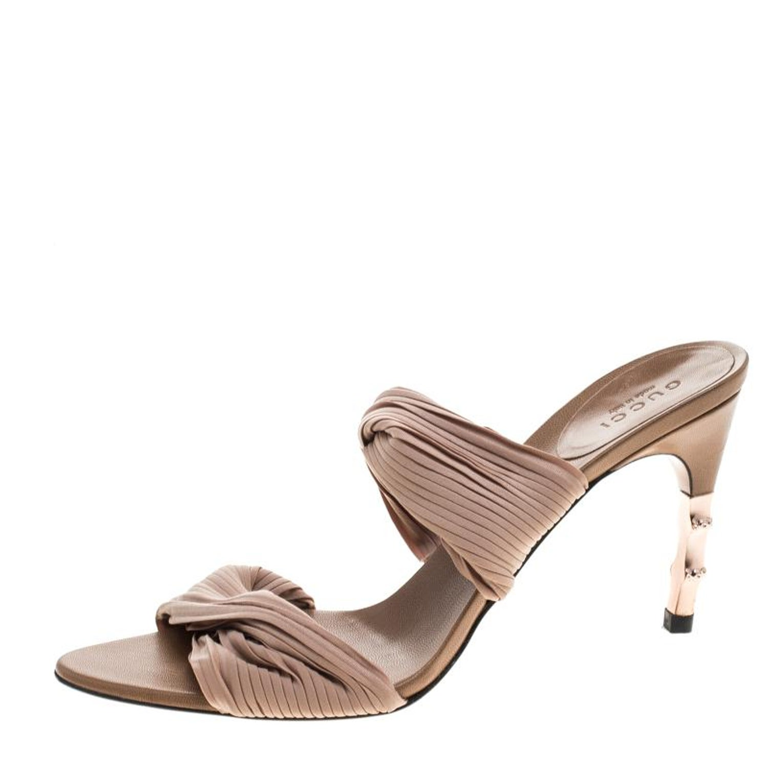 654dfaa1d Gucci Beige Stretch Plisse Fabric Bamboo Heel Slides Size 38.5 at 1stdibs