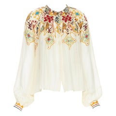 GUCCI beige studded ethnic patch bohemian print wide sleeve blouse top IT42