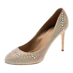 Gucci Beige Suede Crystal Studded Pumps Size 41