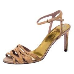 Gucci Beige Suede Fleur Studded Ankle Strap Sandals Size 37.5