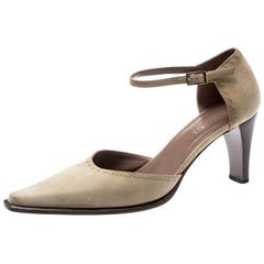 Gucci Beige Suede Pointed Toe D'orsay Pumps Size 38.5