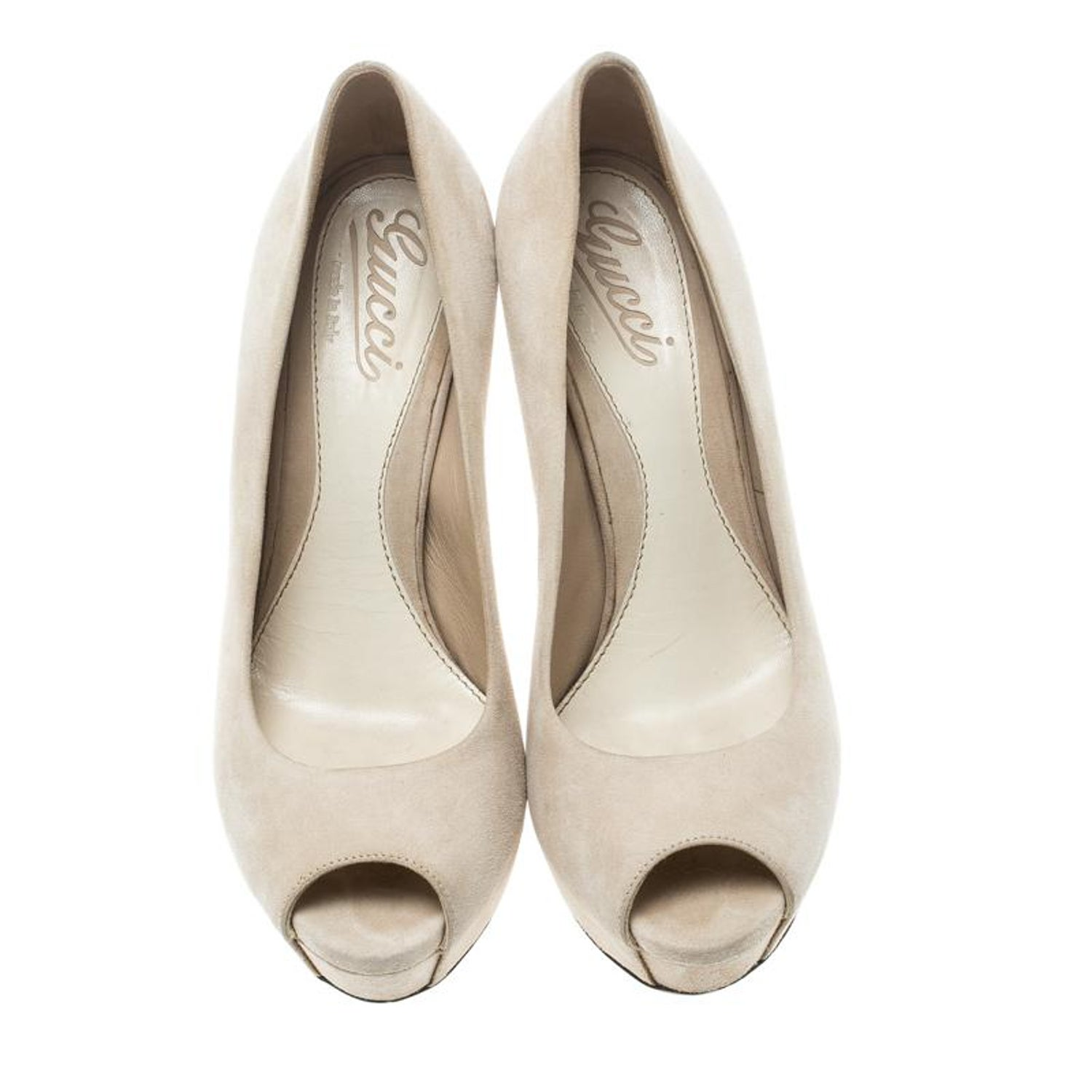 f25407a4e Gucci Beige Suede Sofia Peep Toe Platform Pumps Size 37 For Sale at 1stdibs