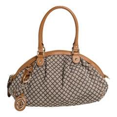 Gucci Beige/Tan Diamante Canvas and Leather Medium Sukey Boston Bag