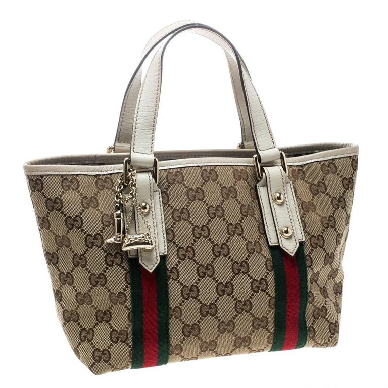 f797c3ac7b5 Brown Gucci Beige White GG Canvas and Leather Mini Jolicoeur Web Tote For  Sale