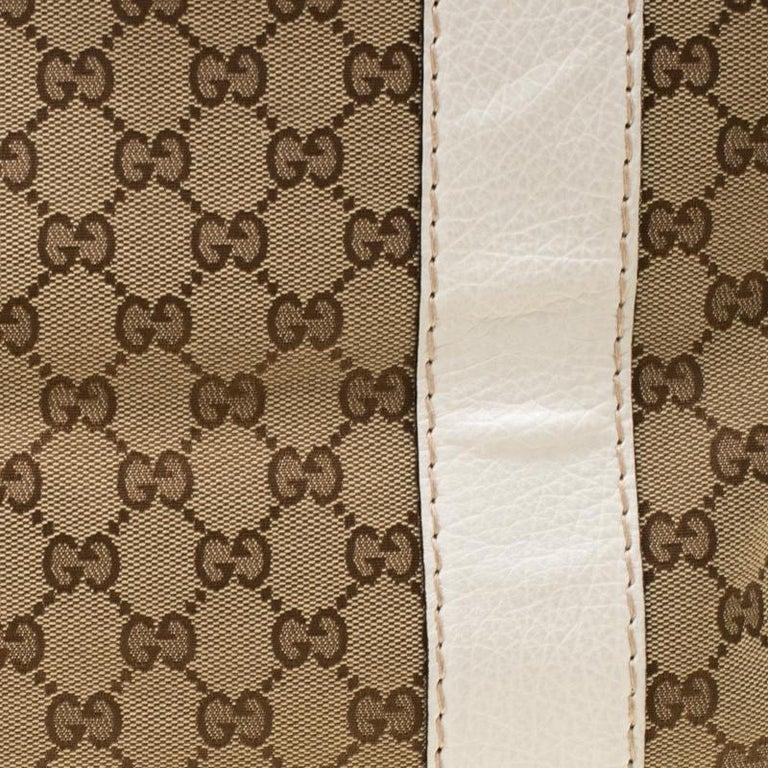 Gucci Beige/White GG Canvas Medium Bamboo Bar Tote For Sale 5