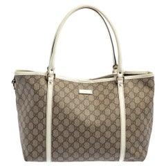 Gucci Beige/White GG Supreme Canvas and Patent Leather Medium Joy Tote
