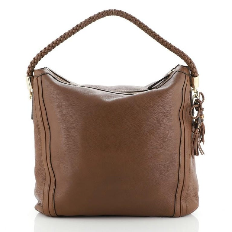 Brown Gucci Bella Hobo Leather Large For Sale