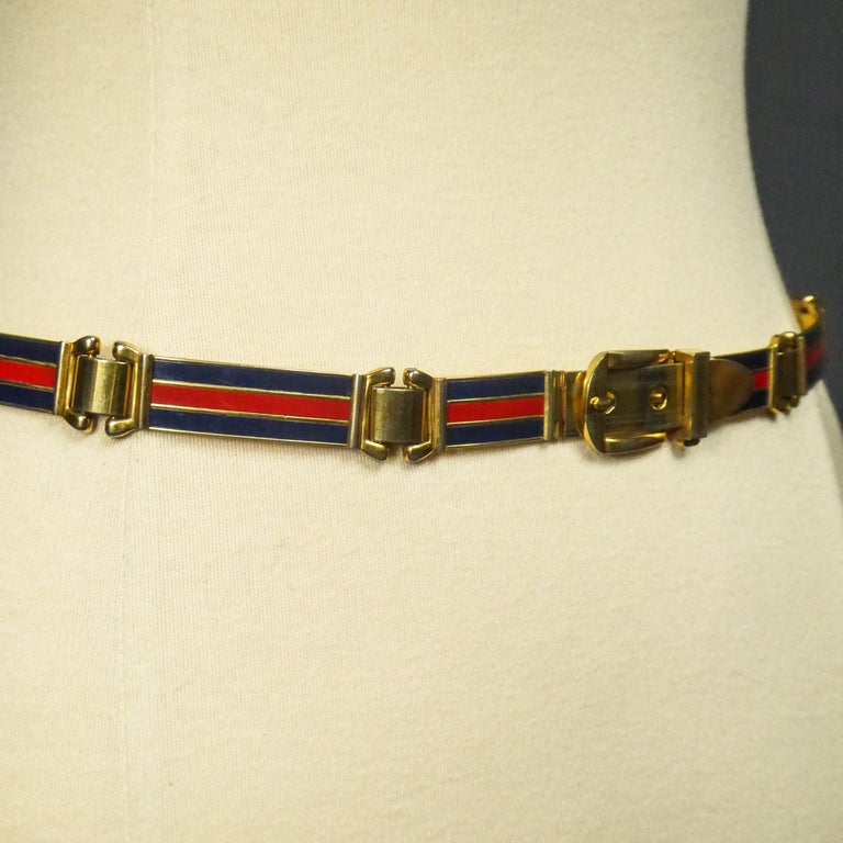 Gucci Belt in Brass and Enamel Circa 1980 For Sale 5