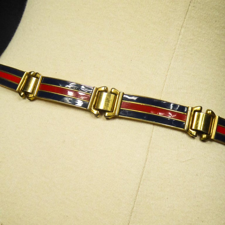 Gucci Belt in Brass and Enamel Circa 1980 For Sale 6