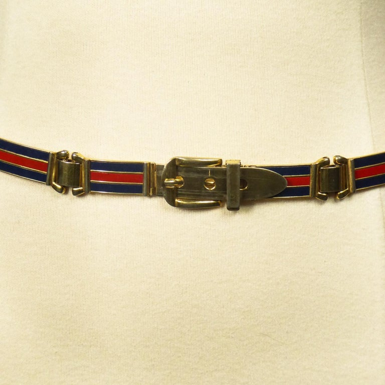 Brown Gucci Belt in Brass and Enamel Circa 1980 For Sale
