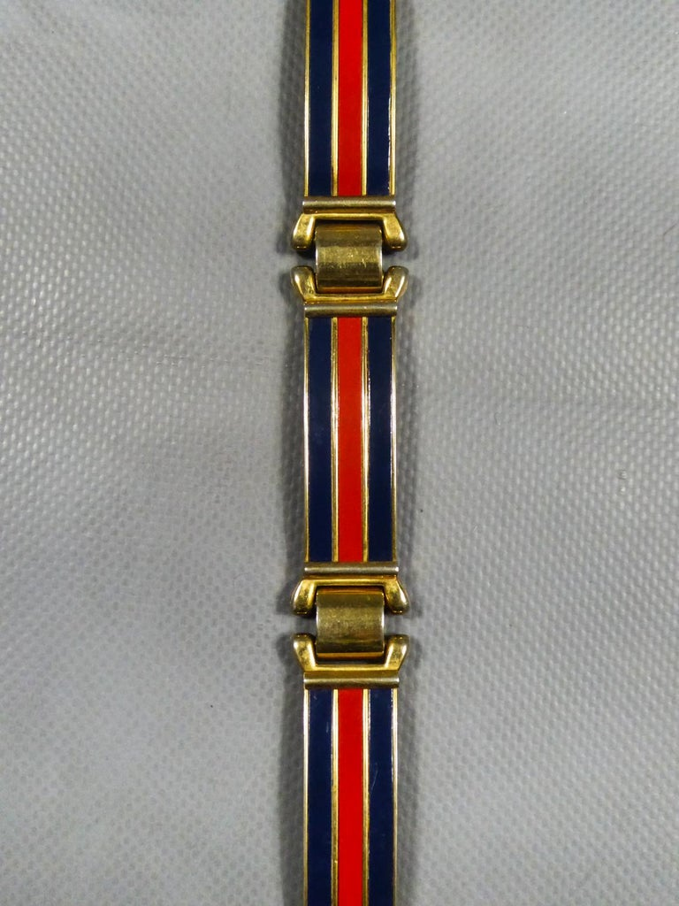 Gucci Belt in Brass and Enamel Circa 1980 In Good Condition For Sale In Toulon, FR