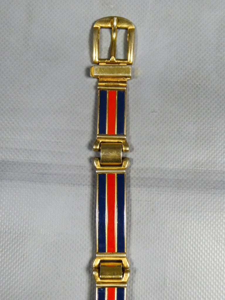 Women's Gucci Belt in Brass and Enamel Circa 1980 For Sale