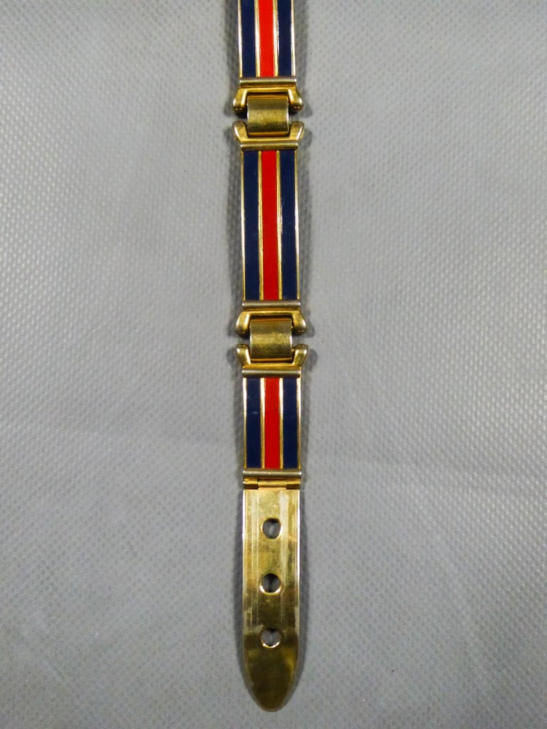 Gucci Belt in Brass and Enamel Circa 1980 For Sale 1