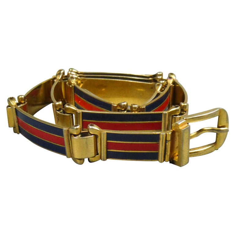 Gucci Belt in Brass and Enamel Circa 1980 For Sale