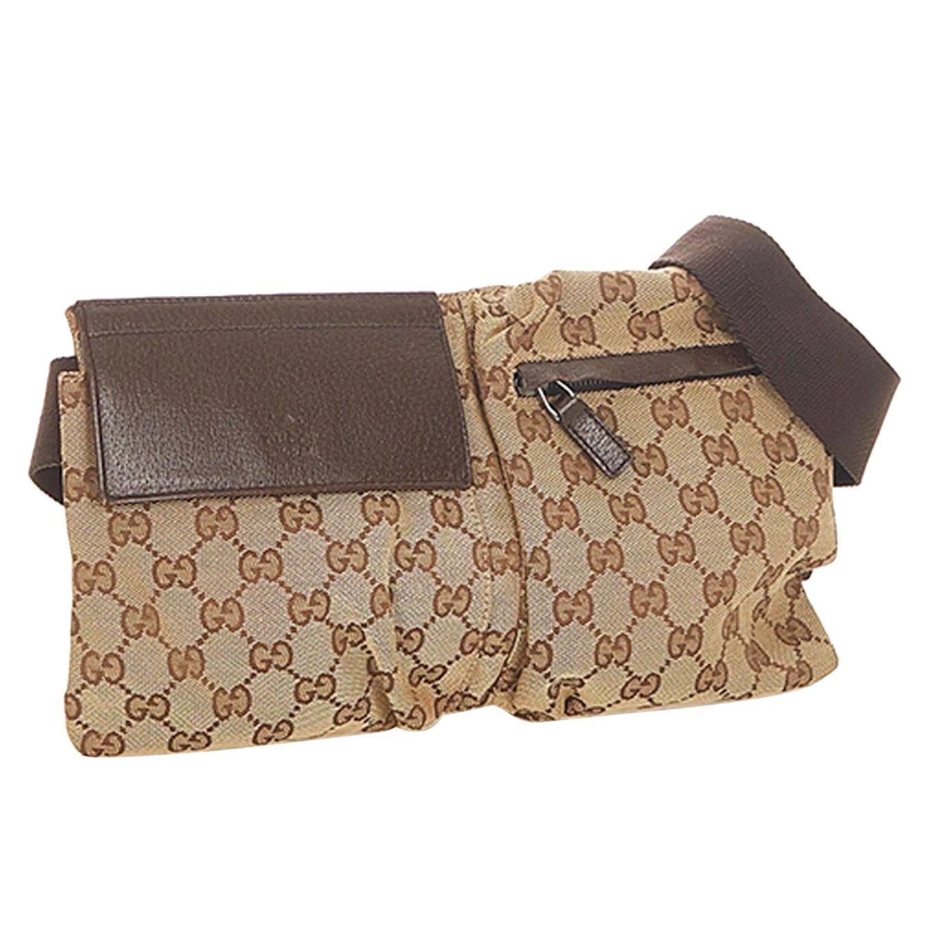 Gucci Belt Monogram Web Double Pocket Brown GG Supreme Canvas Cross Body Bag