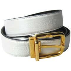 Gucci Belt White Leather Signature Buckle Unisex Never Worn -1990s