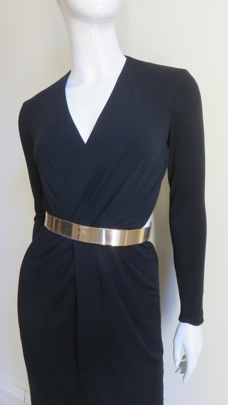Black Gucci Belted Cut out Backless Dress