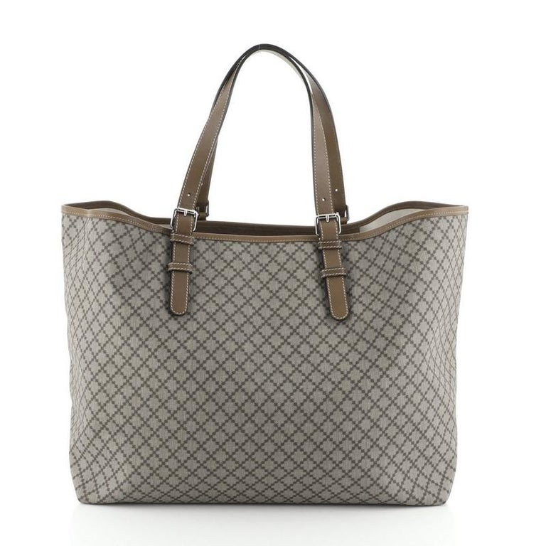 Gucci Belted Tote Diamante Coated Canvas Large In Good Condition For Sale In New York, NY