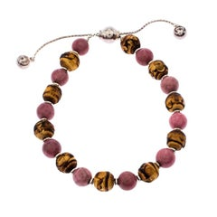Gucci Bi-color Stone Wood Silver Adjustable Bead Bracelet