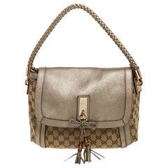 Gucci Biege GG Canvas and Leather Marrakech Shoulder Bag