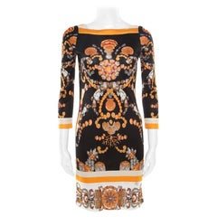 Gucci Black and Gold Sea Shell Print Jersey Shift Dress S