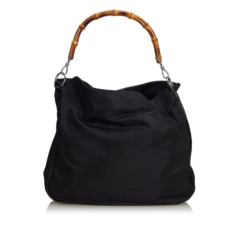 Gucci Black Bamboo Canvas Satchel In Good Condition For Sale In Orlando, FL