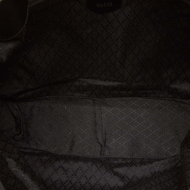 Gucci Black Bamboo Canvas Satchel For Sale 1