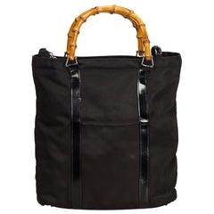 Gucci Black Bamboo Nylon Handbag