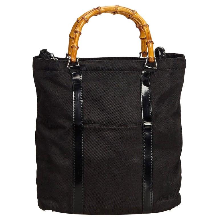 b4cfaa8fb973 Gucci Black Bamboo Nylon Handbag at 1stdibs