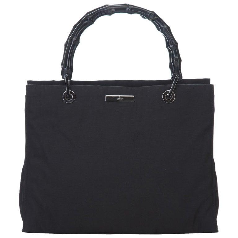 b1e092620cf9 Gucci Black Bamboo Nylon Tote Bag at 1stdibs